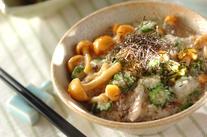 アジの干物トロロ麦ご飯