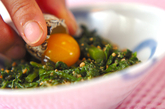菊菜のナムル・ウズラ卵のせの作り方2