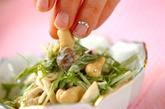 青菜とキノコのからしマヨ和えの作り方2