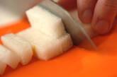 長芋と水菜のサッと煮の下準備1