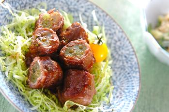 フキの牛肉ロール焼き
