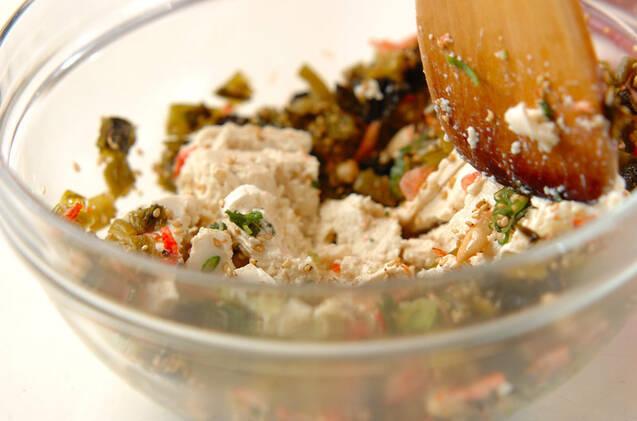 高菜漬けの豆腐和えの作り方の手順4