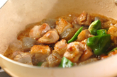鶏肉と板コンの炒め煮の作り方2