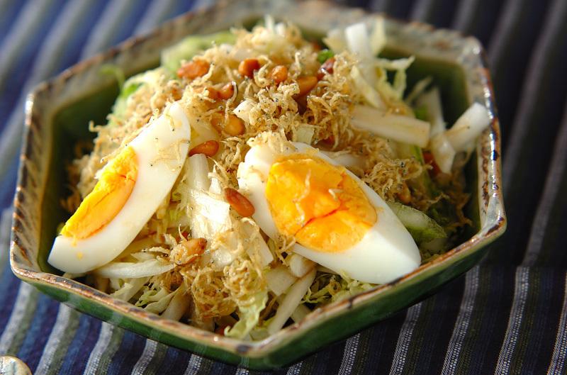 緑色のお皿に盛られた白菜、ゆで卵、じゃこのサラダ
