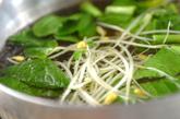小松菜と豆モヤシの和え物の作り方1