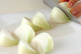 新玉ネギの塩昆布炒めの下準備1
