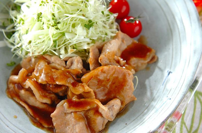 薄切り豚肉の生姜焼き