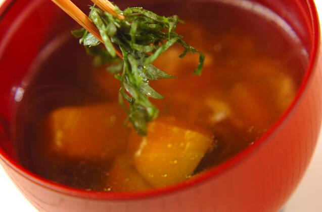 カボチャの鶏そぼろ汁の作り方の手順5