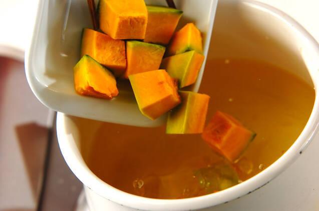 カボチャの鶏そぼろ汁の作り方の手順3