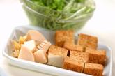 青菜と厚揚げの煮物の下準備1