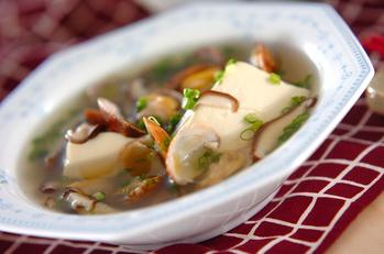 シイタケとアサリのスープ