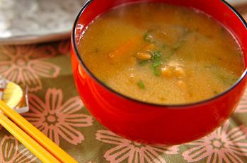 納豆とカボチャのみそ汁
