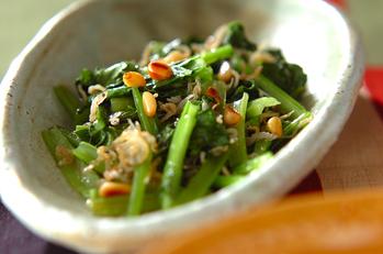小松菜とジャコのカリカリ炒め