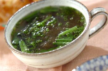 とろろ昆布とホウレン草のスープ