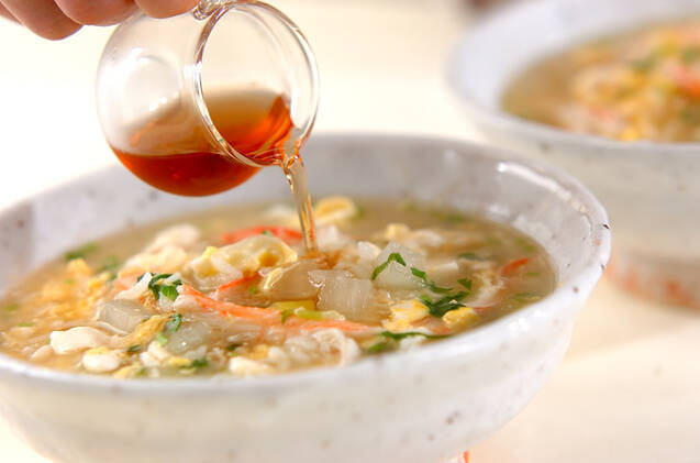カニと卵の雑炊の作り方の手順3