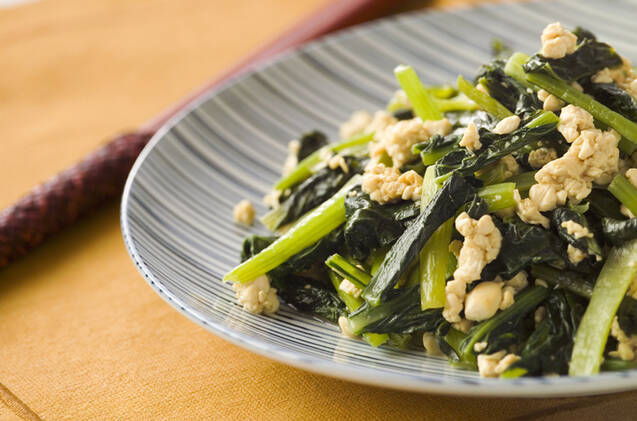 小松菜炒り豆腐炒め