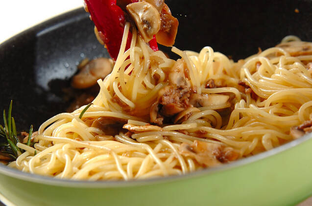 ツナとマッシュルームのパスタの作り方の手順4