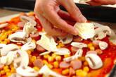 コーンとソーセージのピザの作り方9