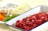 牛肉のソース炒めの下準備1