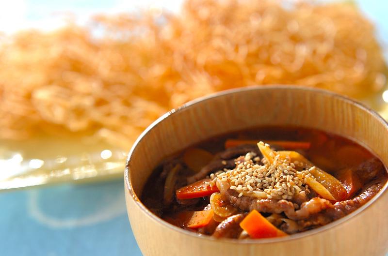 素麺入り牛肉スープ