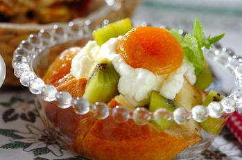 ブリオッシュのフルーツとヨーグルト