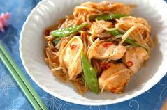 鶏肉とモヤシのオイスター炒め