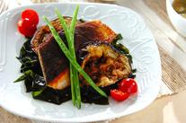 米ナスと鮭のソテー