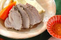 ピリ辛ソース添えゆで豚
