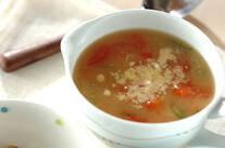 トマトと大葉の和風スープ