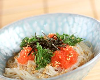 明太子と大葉の素麺