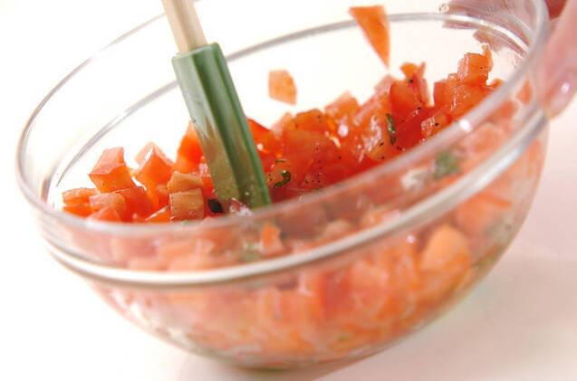 ワインのお供に トマトとバジルのブルスケッタの作り方の手順5