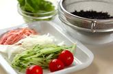 芽ヒジキの彩りサラダの下準備1