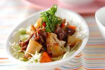 砂肝のゴマドレ炒めサラダ