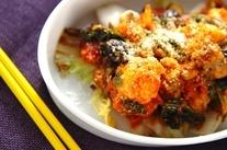 カキと菊菜のアラビアータ