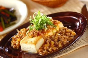 マーボーソースがけ豆腐ステーキ