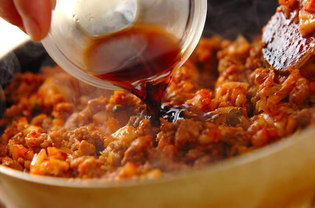 豚キムそぼろ入り豆乳つけ麺の作り方の手順2