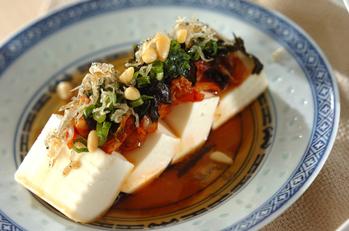 キムチのせ豆腐のサラダ
