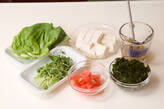 和風豆腐サラダの下準備1