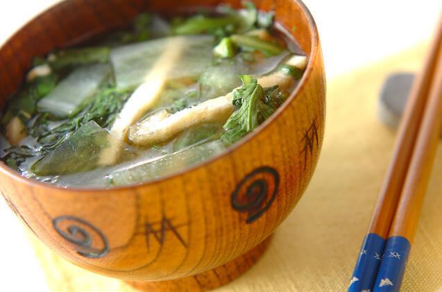 春菊と大根の味噌汁