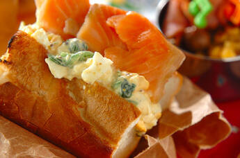ホウレン草サラダのバゲットサンド