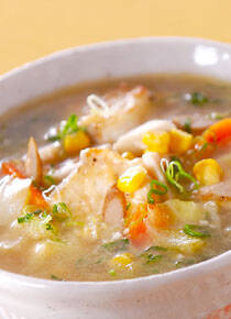 タラ・みそ味のスープ