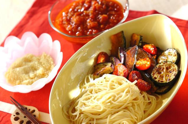 夏野菜のトマトつけパスタ