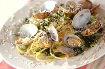 アサリと野沢菜のパスタ