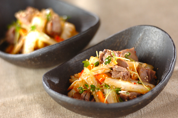 白菜と砂肝のピリ辛和え
