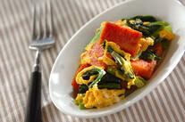 ランチョンミートと青菜の卵炒め