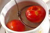甘いデザートトマトの下準備1