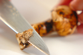 松茸とハモのお吸い物の下準備1