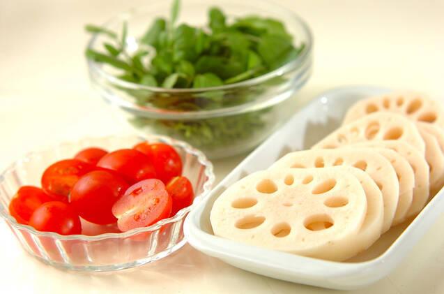 レンコンとクレソンのサラダの作り方の手順1