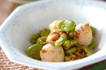 ホタテとソラ豆のネギショウガ炒め