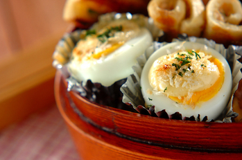ゆで卵のタルタルソース焼き